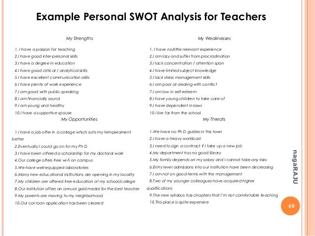 personal swot about a student A tool you can use when analyzing yourself is a so-called swot analysis swot  analysis is used to evaluate strengths, weaknesses, opportunities and threats.