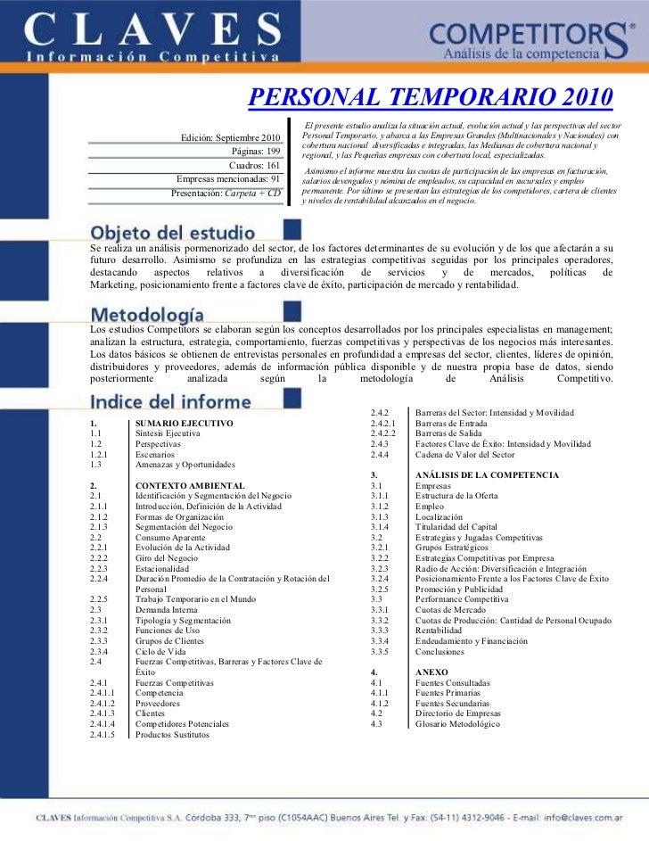 PERSONAL TEMPORARIO 2010                                                      El presente estudio analiza la situación act...