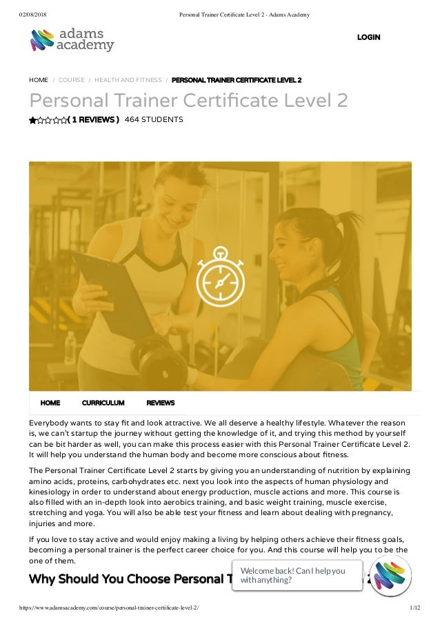Personal Trainer Certificate Level 2 Adams Academy