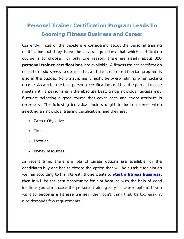 Personal Trainer Certification Program Leads To Booming Fitness Busin