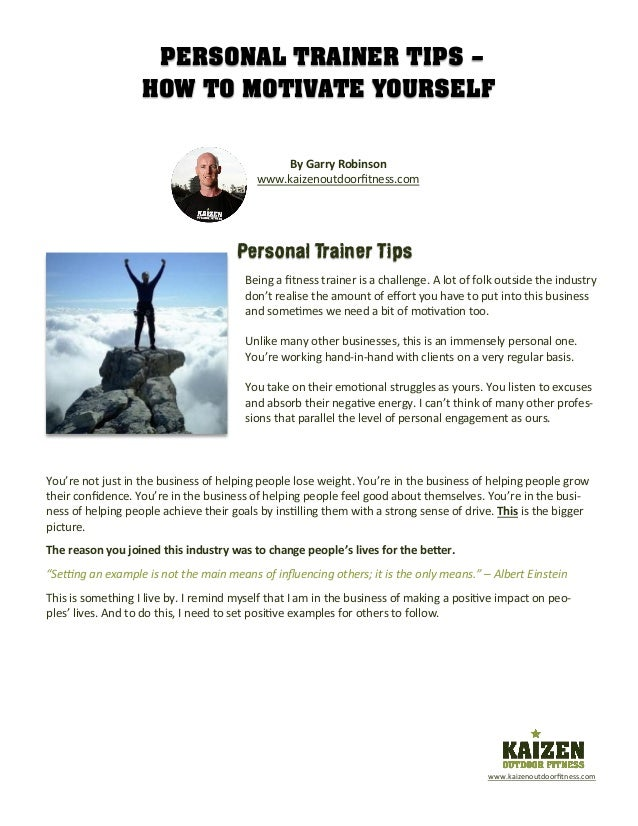 personal trainer tips how to motivate yourself