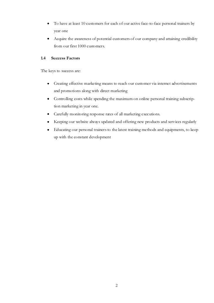 Online training business plan
