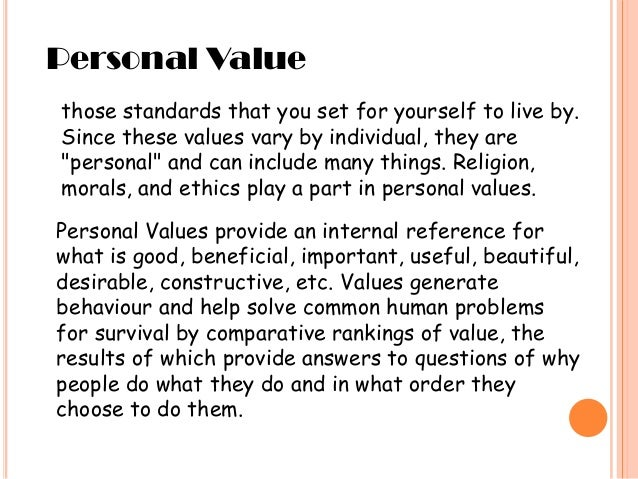 an introduction to the set of personal values 2005 cultural values and personal ethics paper all people have personal values and ethics personal values are those that set the tone and the direction for one's life and for personal values statement introduction i had the privilege of taking an ethics class that asked me to list.