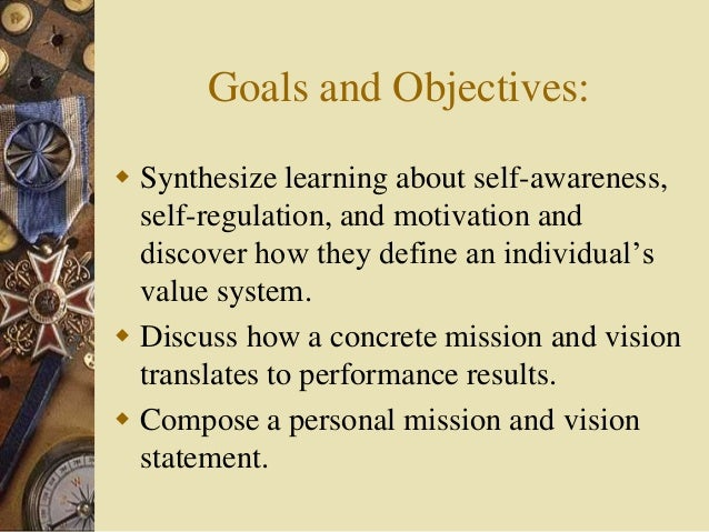Personal vision and mission