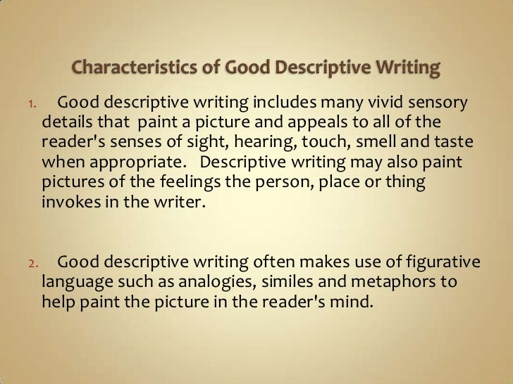 characteristics of a descriptive essay