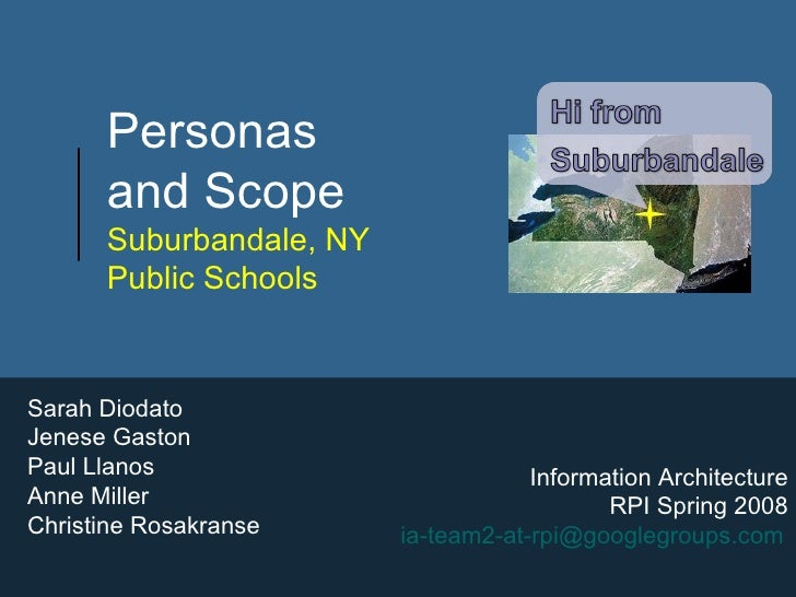 Personas  and Scope  Suburbandale, NY  Public Schools Sarah Diodato Jenese Gaston Paul Llanos Anne Miller Christine Rosakr...