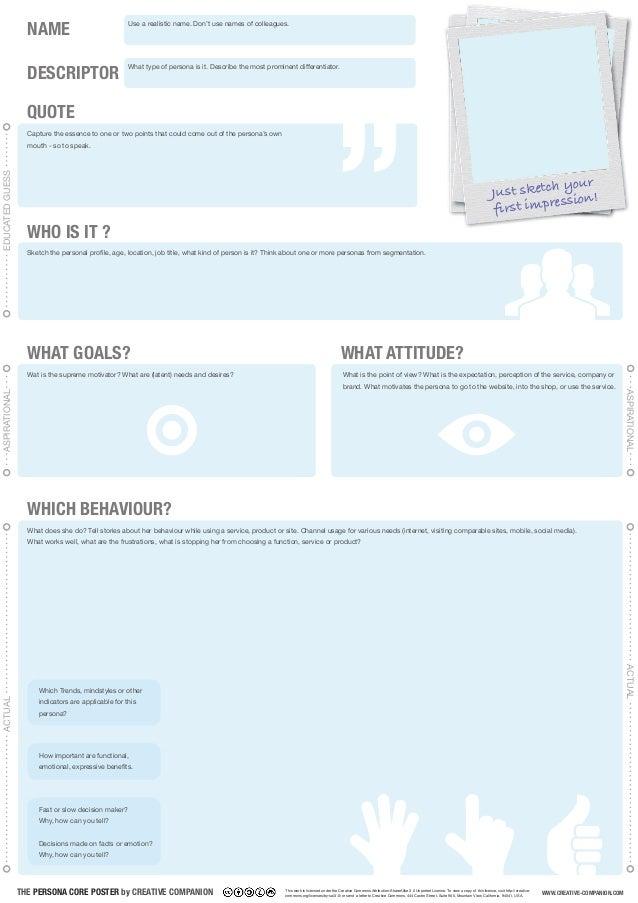 THE PERSONA CORE POSTER by CREATIVE COMPANION DESCRIPTOR NAME Sketch the personal profile, age, location, job title, what ...