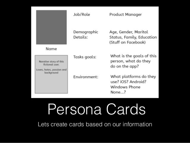 Persona Cards Lets create cards based on our information