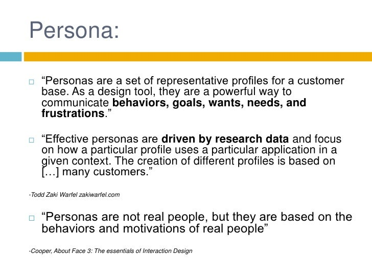Personas In Product Design on Needs And Wants