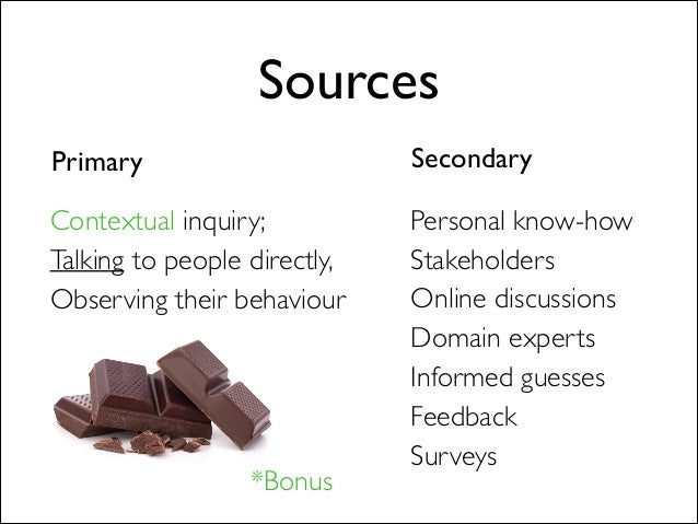 Sources Primary Secondary Personal know-how  Stakeholders  Online discussions  Domain experts  Informed guesses  Feed...