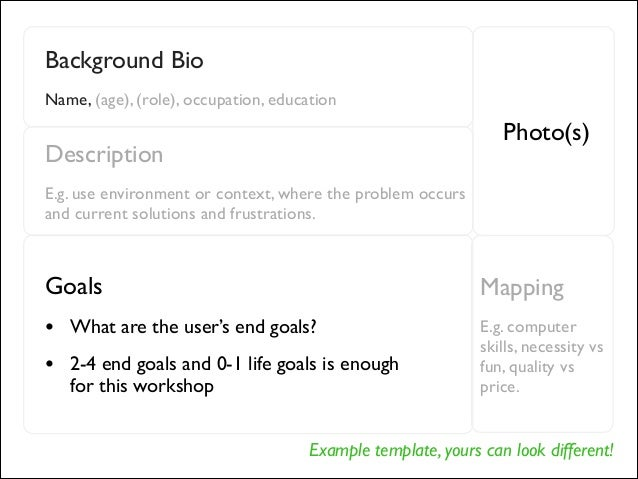 Example template, yours can look different! Background Bio  Name, (age), (role), occupation, education Photo(s) Descripti...