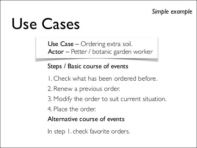 Steps / Basic course of events  1. Check what has been ordered before.  2. Renew a previous order.  3. Modify the order...
