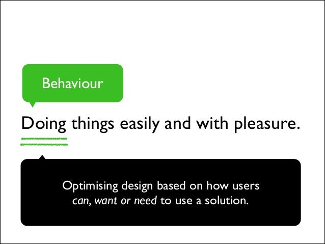 Doing things easily and with pleasure. Behaviour Optimising design based on how users  can, want or need to use a solutio...
