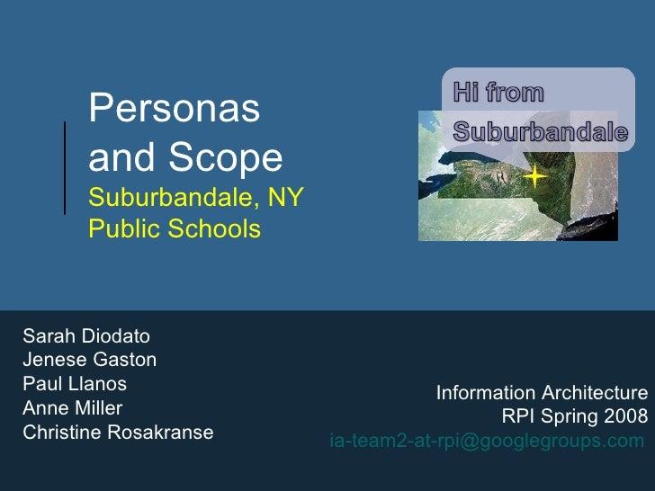 Personas  and Scope  Suburbandale, NY  Public Schools Sarah Diodato Jenese Gaston Paul Llanos Anne Miller Christine Rosakr...