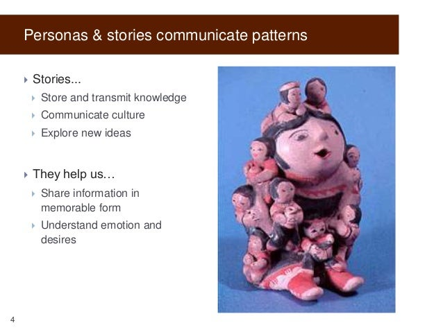 Personas & stories communicate patterns   Stories...    Communicate culture      Store and transmit knowledge Explore...
