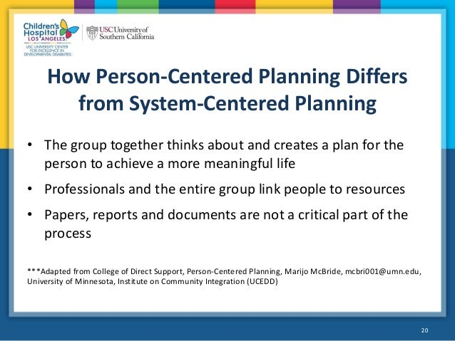 person centered planning essay One way to do that is through a process called person-centered planning sample person-centered plans: general information on person-centered planning all inclusive, issue #2, spring 2004.
