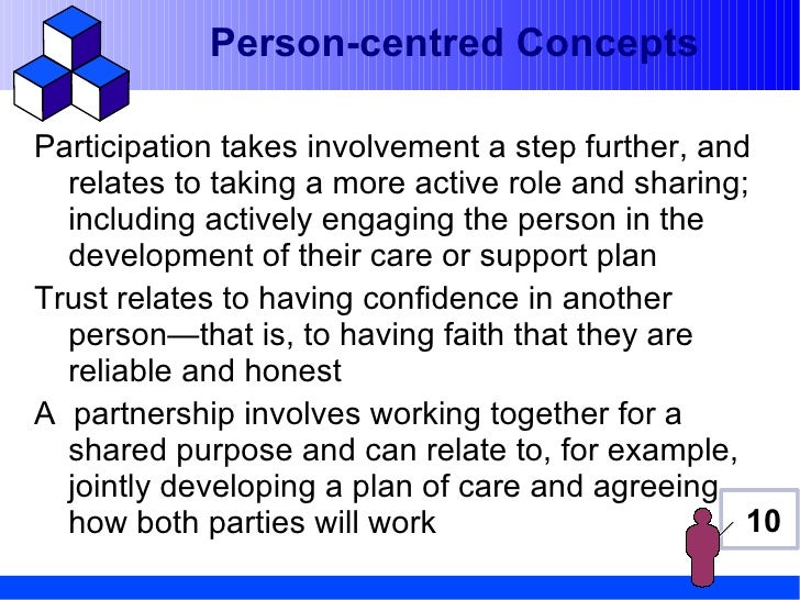 Person-centred ConceptsParticipation takes involvement a step further, and  relates to taking a more active role and shari...