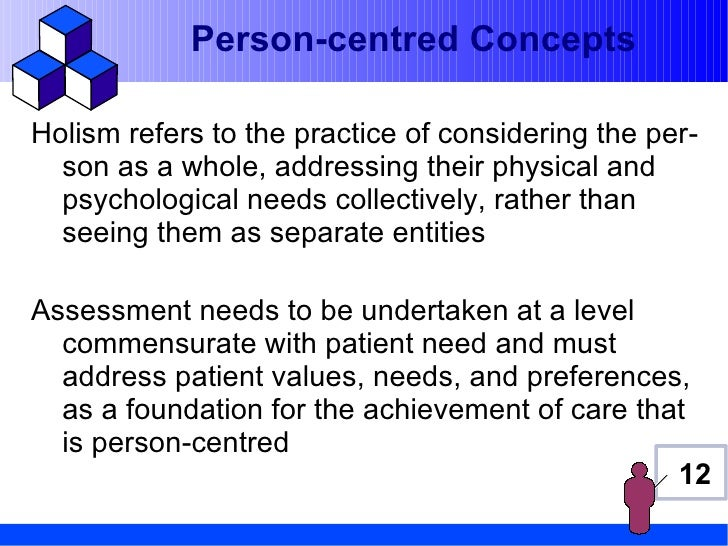 Person-centred ConceptsHolism refers to the practice of considering the per-  son as a whole, addressing their physical an...