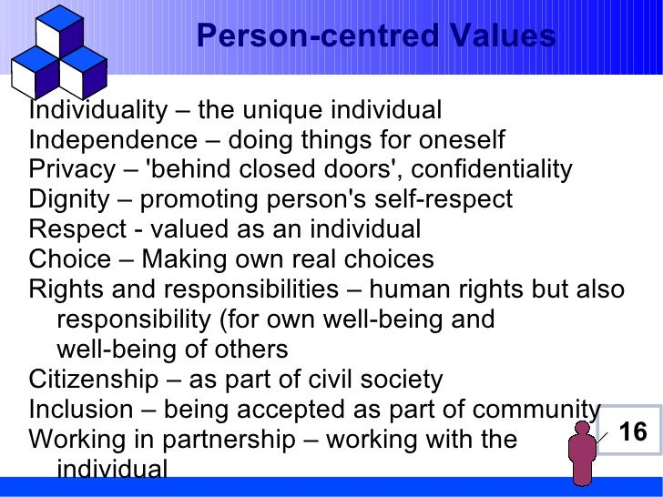 Person-centred ValuesIndividuality – the unique individualIndependence – doing things for oneselfPrivacy – behind closed d...