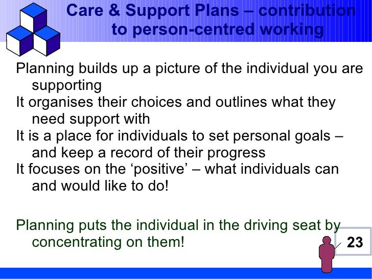 Care & Support Plans – contribution            to person-centred workingPlanning builds up a picture of the individual you...