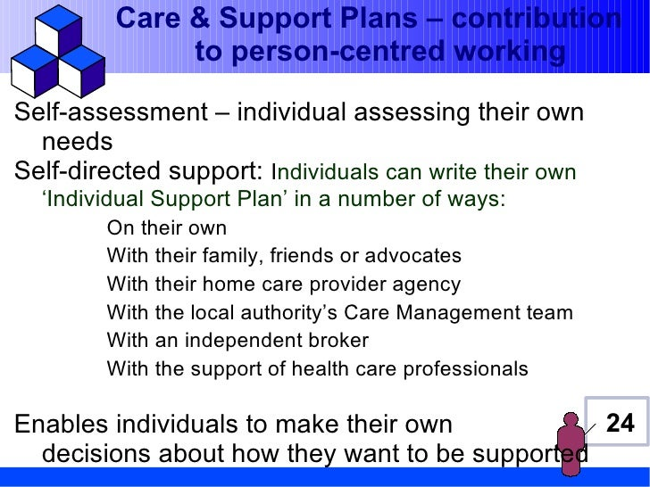 Care & Support Plans – contribution              to person-centred workingSelf-assessment – individual assessing their own...
