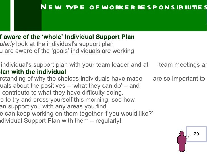 N e w typ e of worke r re s p ons ib ilitie sf aware of the 'whole' Individual Support Planularly look at the individual's...
