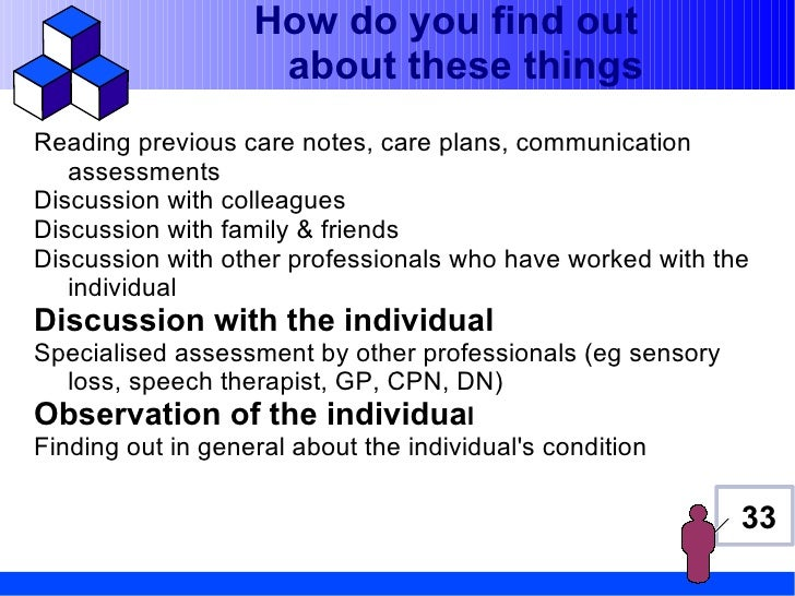 How do you find out                   about these thingsReading previous care notes, care plans, communication   assessmen...