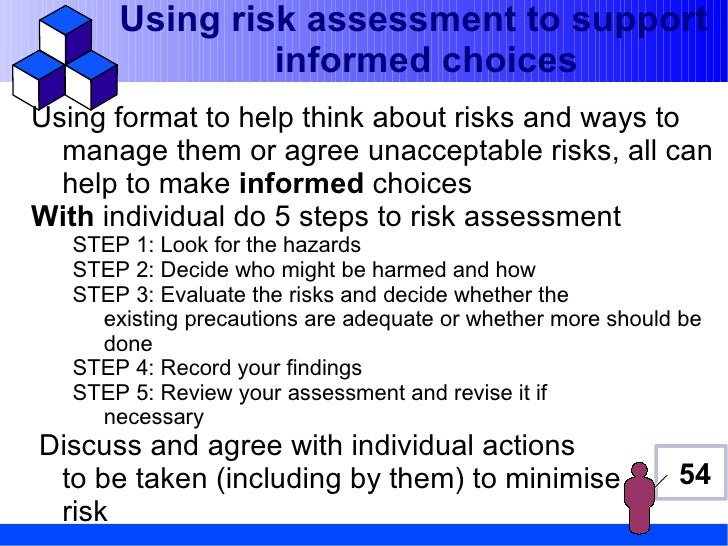 Using risk assessment to support                informed choicesUsing format to help think about risks and ways to  manage...