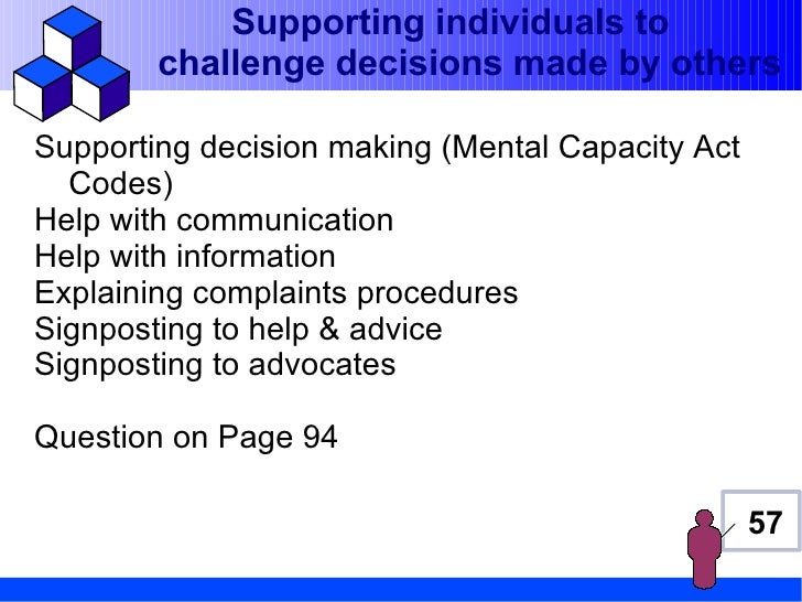 Supporting individuals to        challenge decisions made by othersSupporting decision making (Mental Capacity Act  Codes)...