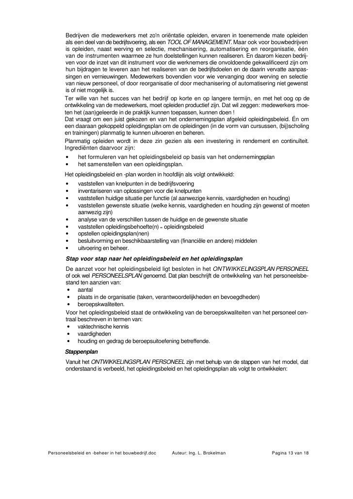 Personeelsbeleid En Beheer In Het Bouwbedrijf