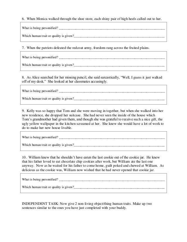 Worksheets Personification Worksheets personification worksheet and ans