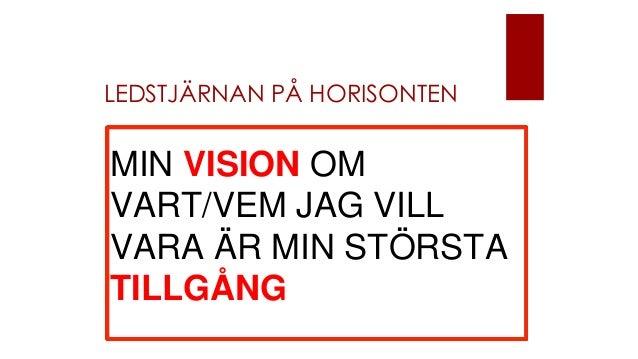 LEDSTJÄRNAN PÅ HORISONTEN MIN VISION OM VART/VEM JAG VILL VARA ÄR MIN STÖRSTA TILLGÅNG