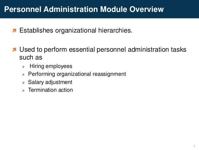 Personnel Administration Module Overview Establishes organizational hierarchies. Used to perform essential personnel adm...