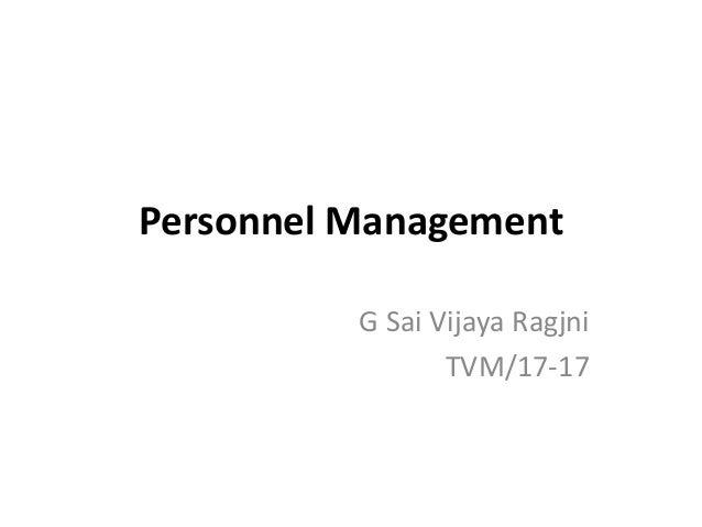 Personnel Management G Sai Vijaya Ragjni TVM/17-17