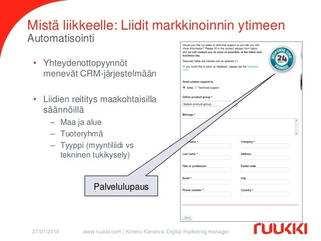 Mistä liikkeelle: Liidit markkinoinnin ytimeen Automatisointi • Yhteydenottopyynnöt menevät CRM-järjestelmään  • Liidien r...