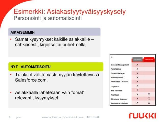 Esimerkki: Asiakastyytyväisyyskysely Personointi ja automatisointi AIKAISEMMIN  • Samat kysymykset kaikille asiakkaille – ...