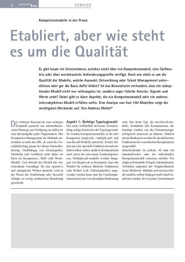 2 S E R V I C E  Kompetenzmodelle in der Praxis  Etabliert, aber wie steht  es um die Qualität  Es gibt kaum ein Unternehm...
