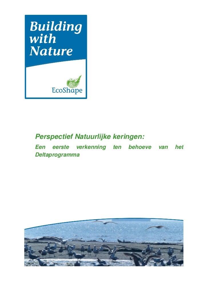 Perspectief Natuurlijke keringen:Een eerste verkenning   ten   behoeve   van   hetDeltaprogramma