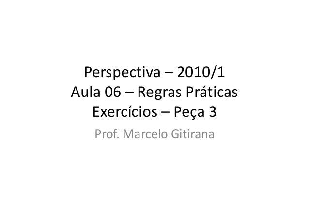 Perspectiva – 2010/1 Aula 06 – Regras Práticas Exercícios – Peça 3 Prof. Marcelo Gitirana
