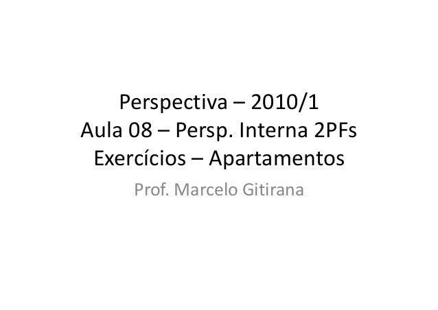 Perspectiva – 2010/1 Aula 08 – Persp. Interna 2PFs Exercícios – Apartamentos Prof. Marcelo Gitirana
