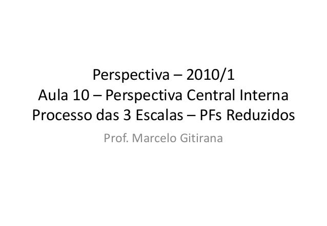 Perspectiva – 2010/1 Aula 10 – Perspectiva Central Interna Processo das 3 Escalas – PFs Reduzidos Prof. Marcelo Gitirana