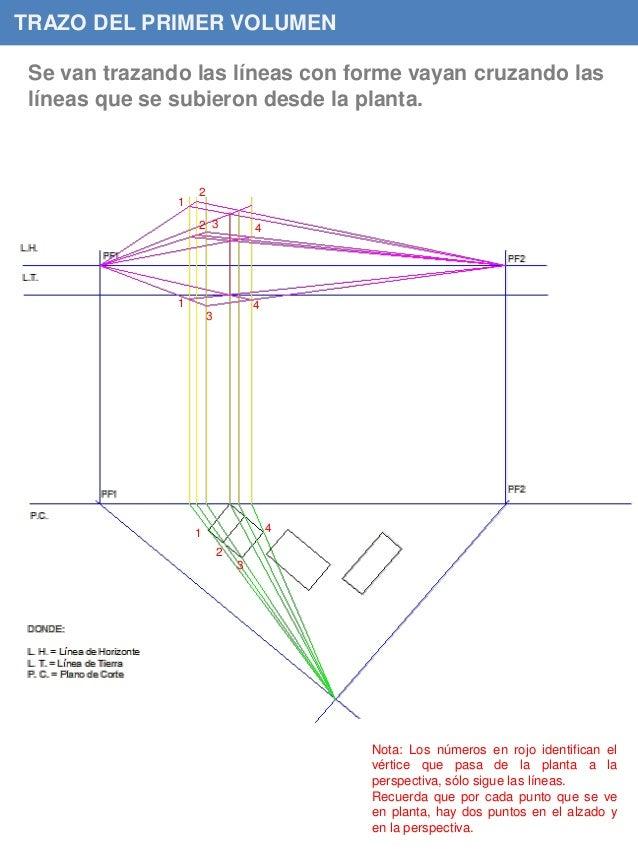 TRAZO DEL PRIMER VOLUMEN Se van trazando las líneas con forme vayan cruzando las líneas que se subieron desde la planta. 1...