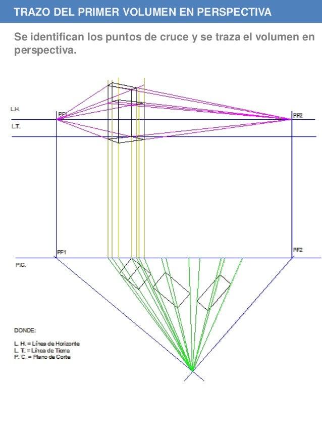 TRAZO DEL PRIMER VOLUMEN EN PERSPECTIVA Se identifican los puntos de cruce y se traza el volumen en perspectiva.