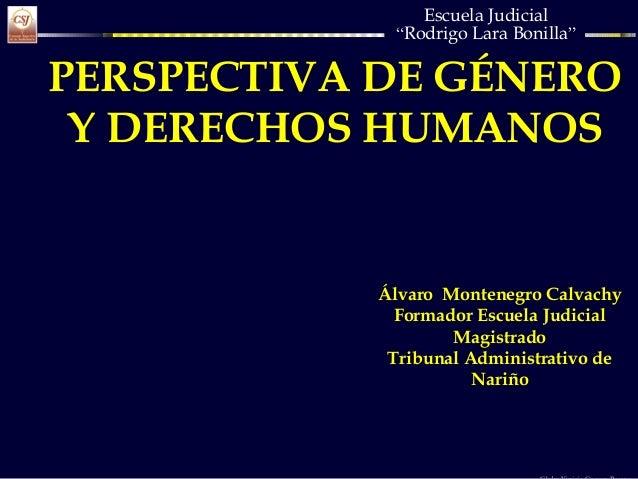 """Escuela Judicial """"Rodrigo Lara Bonilla"""" PERSPECTIVA DE GÉNERO Y DERECHOS HUMANOS Álvaro Montenegro Calvachy Formador Escue..."""