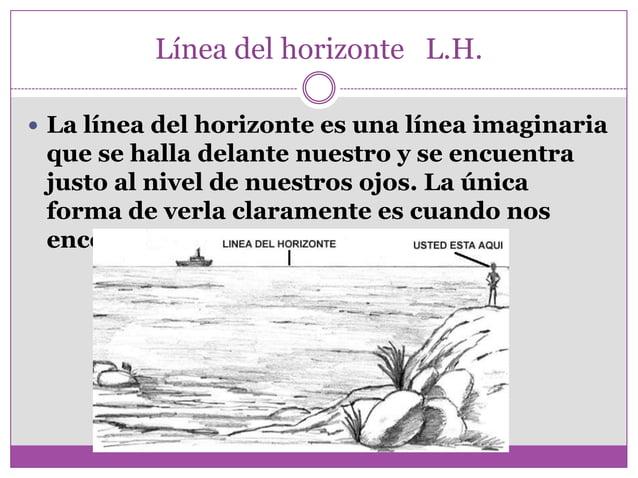 Línea del horizonte L.H.  La línea del horizonte es una línea imaginaria que se halla delante nuestro y se encuentra just...