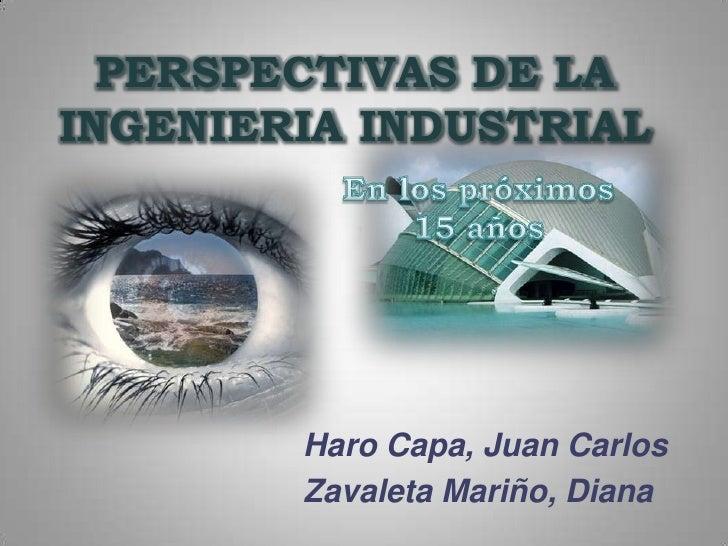 PERSPECTIVAS DE LA INGENIERIA INDUSTRIAL<br />En los próximos 15 años<br />Haro Capa, Juan Carlos<br />Zavaleta Mariño, Di...