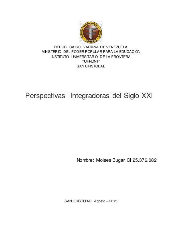 """REPUBLICA BOLIVARIANA DE VENEZUELA MINISTERIO DEL PODER POPULAR PARA LA EDUCACIÓN INSTITUTO UNIVERSITARIO DE LA FRONTERA """"..."""