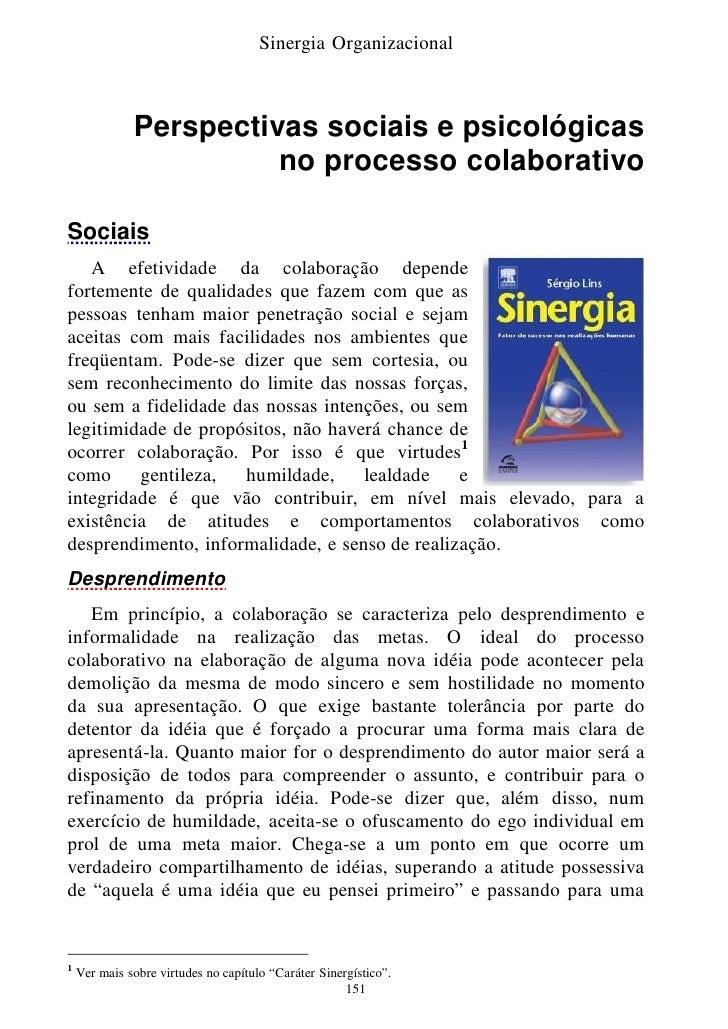 Sinergia Organizacional                  Perspectivas sociais e psicológicas                         no processo colaborat...