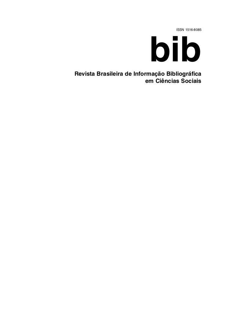 ISSN 1516-8085                           bibRevista Brasileira de Informação Bibliográfica                           em Ci...