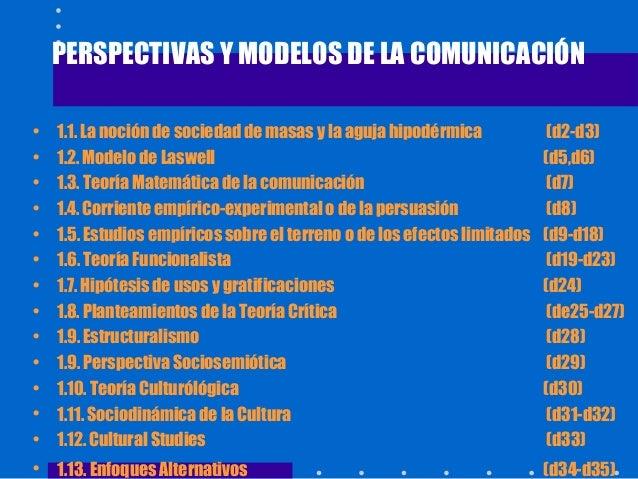 PERSPECTIVAS Y MODELOS DE LA COMUNICACIÓN • 1.1. La noción de sociedad de masas y la aguja hipodérmica (d2-d3) • 1.2. Mode...